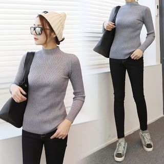 Mock-Neck Slim-Fit Ribbed Knit Top 1055562819