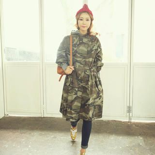 Hooded Drawstring-Waist Camouflage Coat
