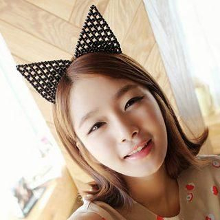 "Beaded ""Cat Ear"" Hair Band Black - One Size"