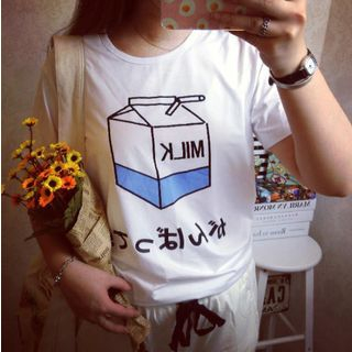 Milk Carton Print T-Shirt 1044375673