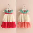 Kids Pleated Color Block Sleeveless Dress 1596