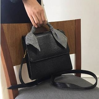 Embossed Faux Leather Crossbody Bag