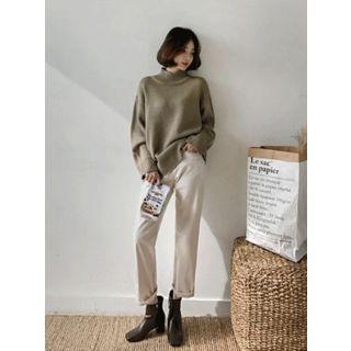 Mock-Neck Drop-Shoulder Knit Top 1063206360