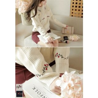 Flower Embroidered Ribbed Cardigan 1052958965