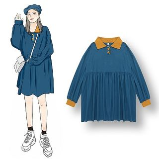 Long-sleeve | Babydoll | Block | Color | Dress | Blue | Size | One