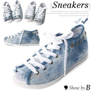 Picture of Shoes by B Open-Toe Studded Back Lace-Up Sneakers 1022874386 (Sneakers, Shoes by B Shoes, Korea Shoes, Womens Shoes, Womens Sneakers)