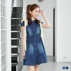 Beaded Short-Sleeve Washed A-Line Denim Dress 1596