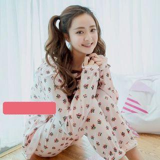 Maternity Pajama Set: Strawberry Print Nursing Top + Pants