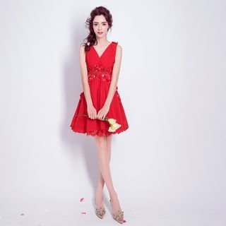 Image of Embellished Sleeveless Mini Bridesmaid Dress