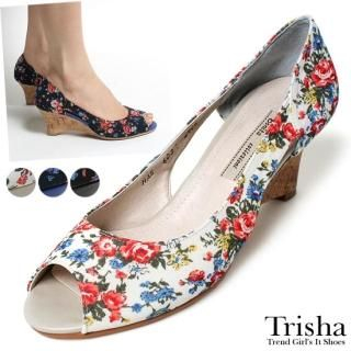 Buy Trisha Floral Print Wedge Pumps 1022535067