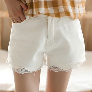 Lace Trim Denim Shorts 1060929909