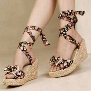 Picture of Kvoll Tie-Ankle Floral Wedge Sandals 1022991201 (Sandals, Kvoll Shoes, China Shoes, Womens Shoes, Womens Sandals)
