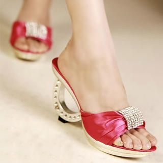Buy Kvoll Diamante Satin Mules 1022991629