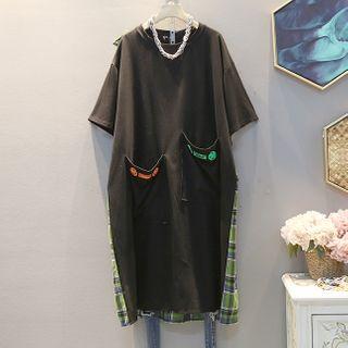 Short-sleeve | T-Shirt | Plaid | Black | Dress | Hood | Size | One