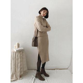 Ribbed Knit Midi Skirt 1064250230