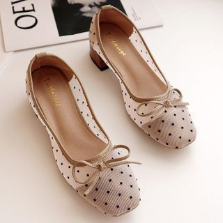 Image of Block Heel Dotted Mesh Bow Pumps