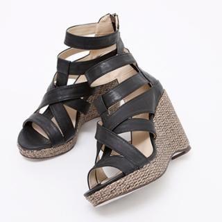 Buy KENZI Faux-Leather Wedge Sandals 1022814226