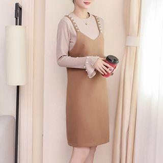 Maternity Set: Long-Sleeve Knit Top + Pinafore Dress 1062786479