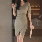 Short-Sleeve Layered Dress 1596