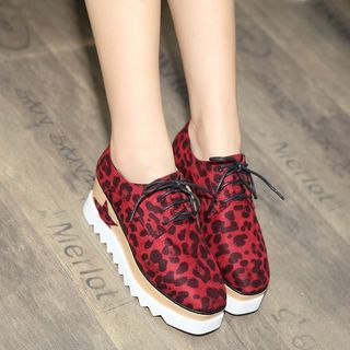 Image of Leopard Print Platform Oxfords