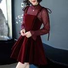 Set: Long-Sleeve Lace Top + A-Line Dress 1596