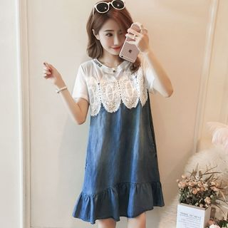 Image of Maternity Short-Sleeve Lace Panel Denim Dress