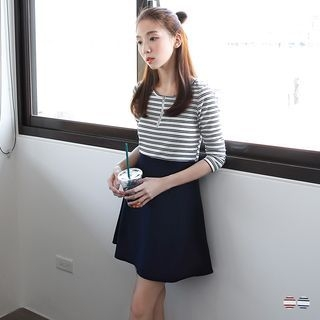 Striped Zipper Dress 1052977286