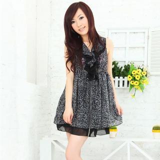 Buy MISIY Leopard-Print Ruffled Chiffon Dress Black – One Size 1022782306