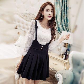 Set: Lace Long-Sleeve Top + A-Line Pinafore Dress 1061462851