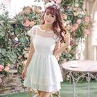 Short-Sleeve Lace Panel Dress 1596