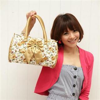 Buy Nantita Floral Print Boston Bag with Bow Gold – One Size 1021688839
