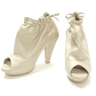 Picture of AKA Drawstring Faux-Leather Open-Toe Pumps 1022260128 (Pump Shoes, AKA Shoes, Korea Shoes, Womens Shoes, Womens Pump Shoes)