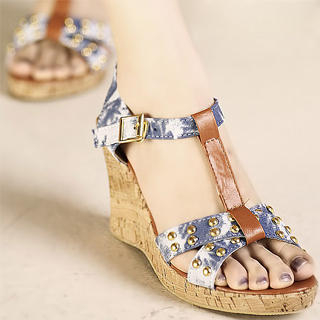 Buy Kvoll T-Strap Studded Platform Wedge Sandals 1023070354