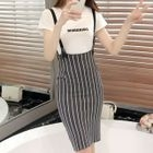 Striped Knit Jumper Skirt 1596