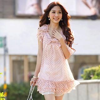Buy Tokyo Fashion Bow Polka Dot Chiffon Dress 1022550245