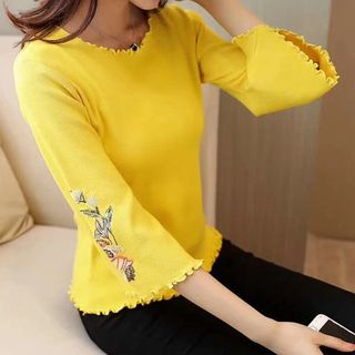 Image of Embroidered Bell Long-Sleeve Knit Sweater