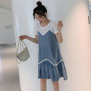 Image of Maternity Short-Sleeve Denim Panel Dress