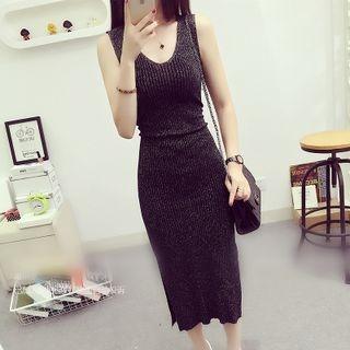 Sleeveless Ribbed Knit Dress 1062896676