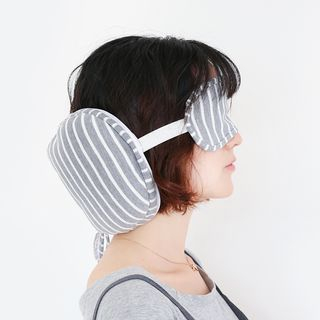 Striped Travel Pillow with Sleep Mask