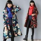 Floral Print Mandarin Collar Long Coat 1596