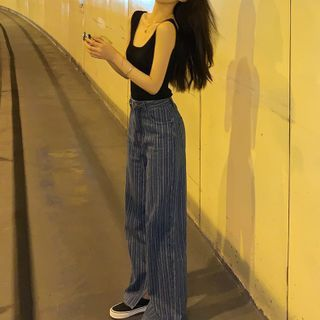 Image of High Waist Pinstripe Jeans