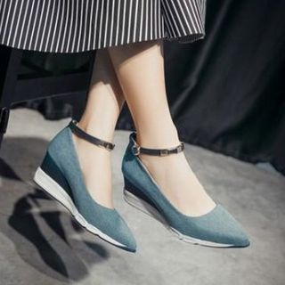 Image of Ankle Strap Pointy Toe Wedge Pumps