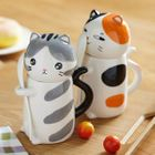 Cat Ceramic Mug with Lid and Spoon 1596