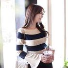 Boat-Neck Slit-Sleeve Knit Top 1596