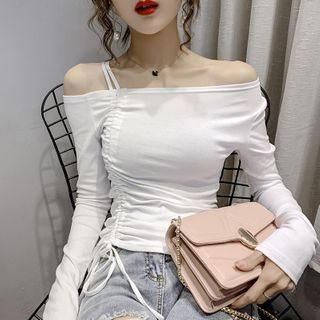 Image of Asymmetric Cold-Shoulder Long-Sleeve Shirred T-Shirt