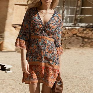 Image of Elbow-Sleeve Floral Print Mini A-Line Dress