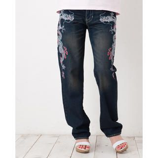 Picture of Buden Akindo [Women] Embroidered Straight-Leg Jeans - Double Dragon 1020448429 (Buden Akindo Apparel, Womens Denim, Japan Apparel, Japan Denim)