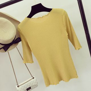 Ribbed Elbow-Sleeve Knit Top 1058397864
