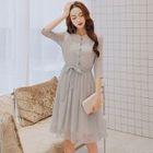 Plain Elbow Sleeve Chiffon Dress 1596