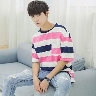 Stripe Elbow-Sleeve T-shirt 1060335310